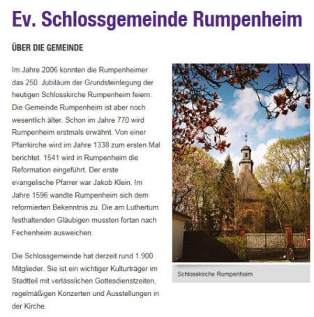 Auszug aus der Dekanats-Homepage Gemeinde Rumpenheim